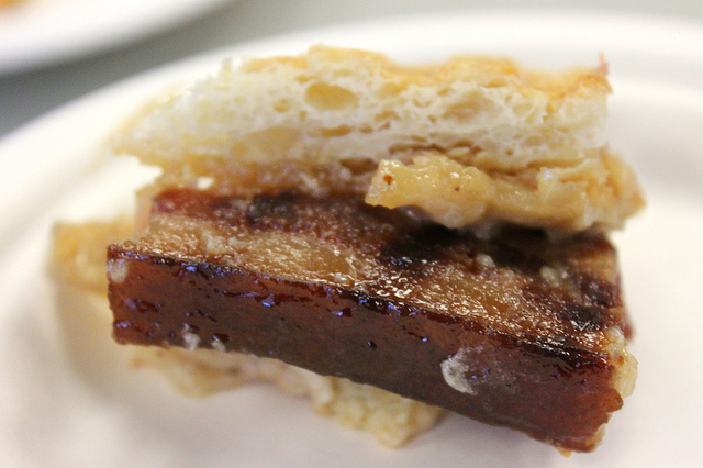 """The """"Love Me Tender"""": Pork belly panino with smoked banana, truffle caramel, cashew butter by Untitled chef Joseph Heppe in Chicago (WBEZ/Louisa Chu)"""