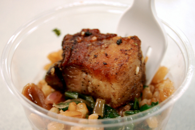 Inovasi pork belly, farro verde, and wild ramp salsa (WBEZ/Louisa Chu)