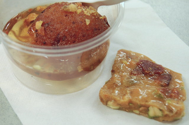 Red Butter bacon-chile gulab jamun with bacon-pistachio brittle (WBEZ/Louisa Chu)
