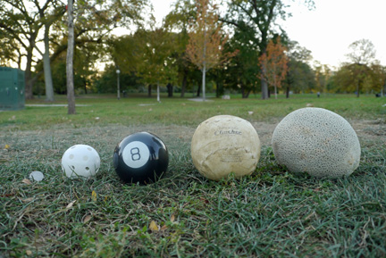 "For comparison we lined up a quarter, a whiffle ball, a ""Magic 8 Ball,"" a 16-inch softball, and a cantaloupe. (WBEZ/Andrew Gill)"