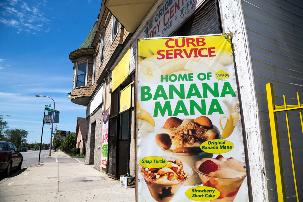 The Banana Mana is the creation of Reese Price, who owns a place named Mr. Allen's Sweet shop around 63rd and Carpenter streets. (WBEZ/Shawn Allee)