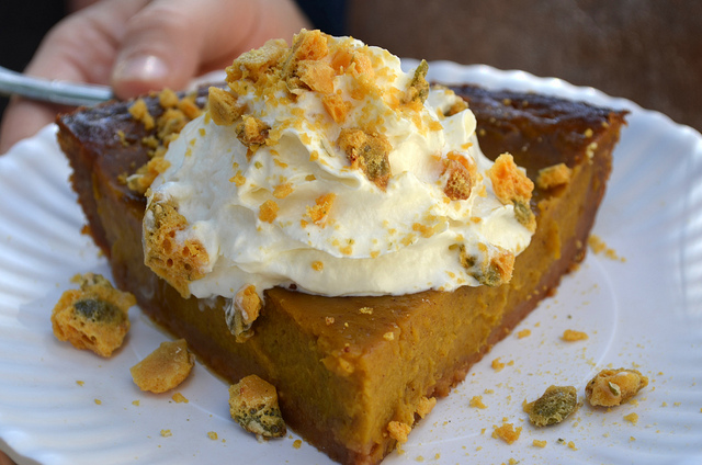 Pumpkin pie with pumpkin seed brittle and whipped cream in a graham cracker crust at Bang Bang Pie Shop (WBEZ/Louisa Chu)