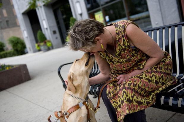 Writer Beth Finke and her seeing eye dog. (WBEZ/Bill Healy)