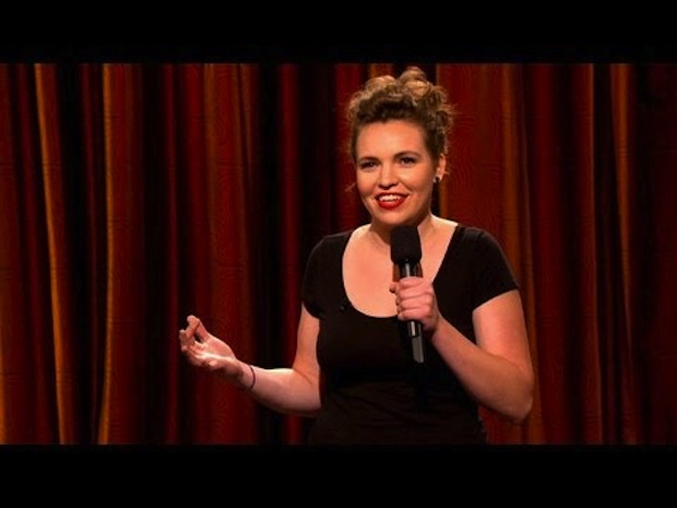 Chicago-based comedienne Beth Stelling performs stand-up on a July 2012 episode of 'Conan.' (TBS)