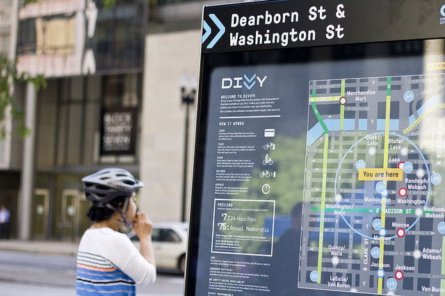 Divvy's first station appears at the corner of Dearborn and Washington streets in the Loop. Stations will be clustered in high density areas, leaving parts of the city unserved. (WBEZ/Robin Amer)