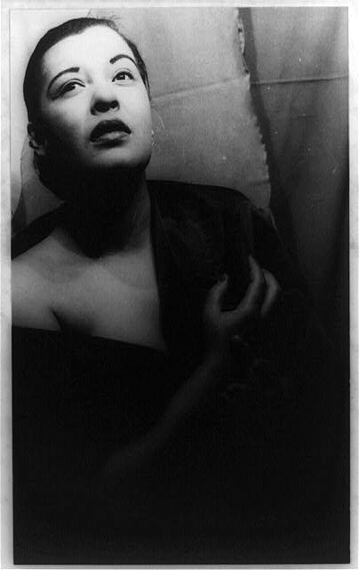 Billie Holiday in 1949. (Carl Van Vechten, Library of Congress)