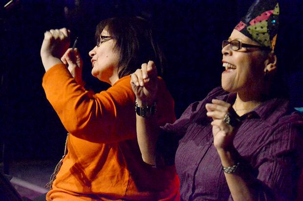 Writers Donna Pecore and D. Kucha Brownlee in the Neighborhood Writing Alliance's performance 'Body Wisdom.' (Photo by Jennifer Girard)