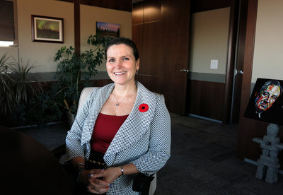 Mayor Melissa Blake, Regional Municipality of Wood Buffalo, says the area's growth has slowed amid falling oil prices. (Jeff Brady/NPR)