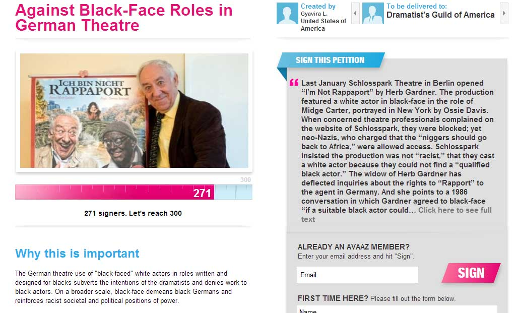 (Screenshot of the petition Against Black-Face Roles in German Theatre)