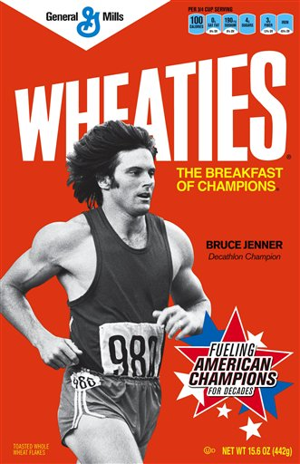 Former Olympian Bruce Jenner graces the cover of this retro Wheaties box. (AP)