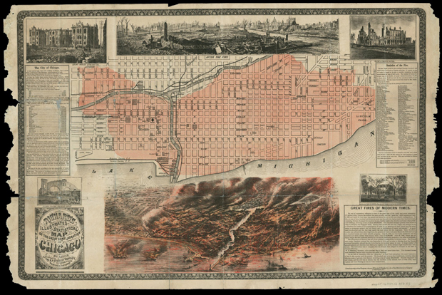 An illustration in Richard's Illustrated shows the districts of Chicago affected by the Great Fire. 1871. (Photo courtesy Newberry Library)