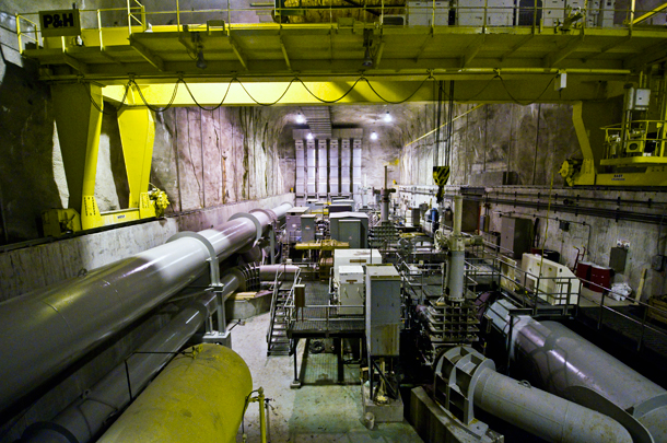 A pump room deep underground at the Calumet Water Reclamation Plant. (WBEZ/Chris Bentley)