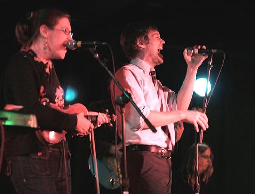 Elizabeth and Matt of Canasta on stage (Canasta).