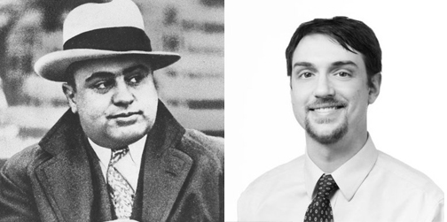 "Al Capone eyes WBEZ's Alex ""Al"" Keefe. (AP, WBEZ/File)"
