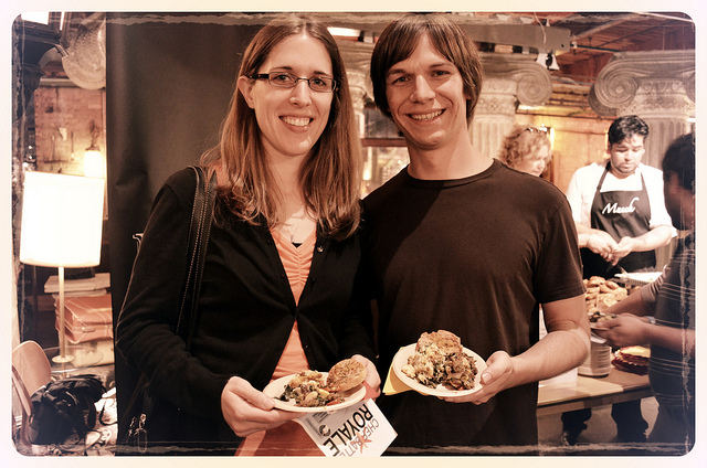 WBEZ High Fidelity Members Kristin and Andy Fitz at Munch, Chef Battle 2012 (WBEZ/Louisa Chu)