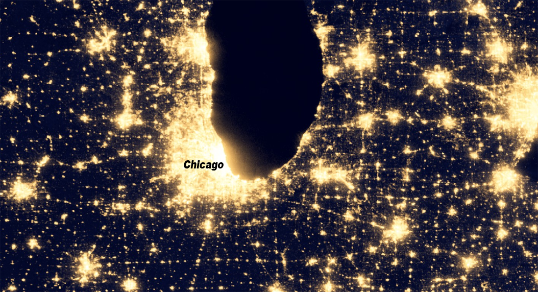 Night-lights imagery by NASA's Earth Observatory shows Chicago's light pollution at night. Click to explore the map.