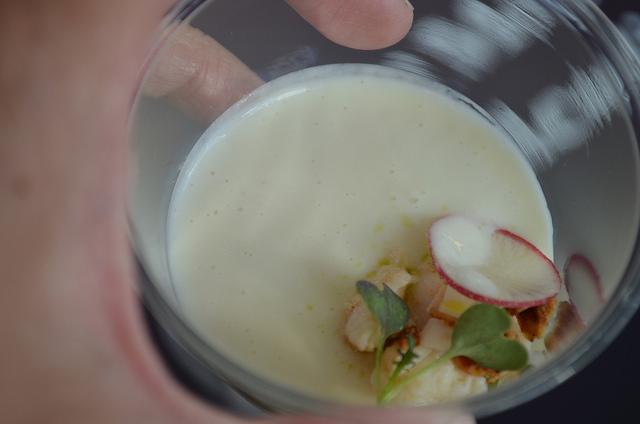 Ryan McCaskey, Acadia: chilled parsnip soup, candied lemon, chai granola, smoked sturgeon, radish, and chive (WBEZ/Louisa Chu)