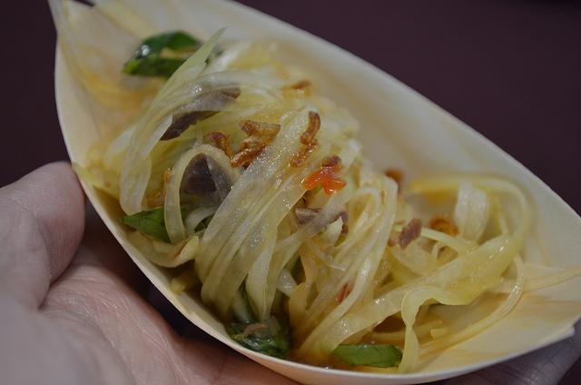 Thai Dang, Embeya: green papaya salad with culantro, crispy shallots, and beef jerky (WBEZ/Louisa Chu)