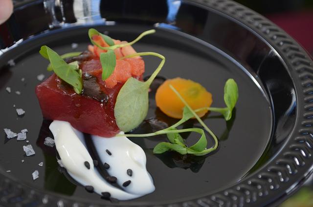 Jared Wentworth, Longman and Eagle: tuna crudo, compressed watermelon, smoked yogurt, black garlic vinaigrette (WBEZ/Louisa Chu)
