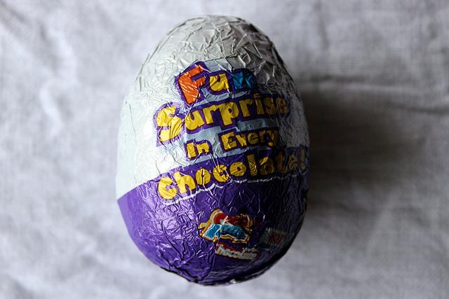 Choco Treasure chocolate egg with toy surprise inside (WBEZ/Louisa Chu)