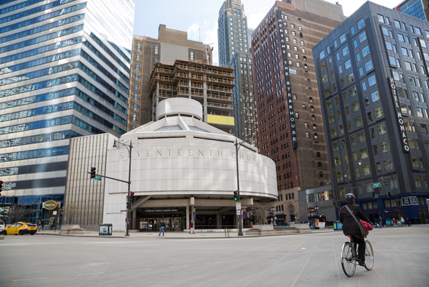 Seventeenth Church of Christ, Scientist sits on a corner of prime real estate at the intersection of Wabash Ave. and Wacker Drive in downtown Chicago. Monica Schrager asked Curious City how the church  has held on to the property for so long. (WBEZ/Shawn Allee)