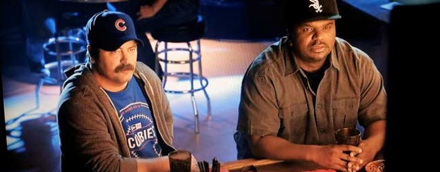 "Native Illinoisans turned NBC stars, Nick Offerman of ""Parks and Recreation"" and Craig Robinson of ""The Office,"" faced off in a series of Cubs v. White Sox commercials for the New Era Cap Company in 2012. (Funny or Die)"