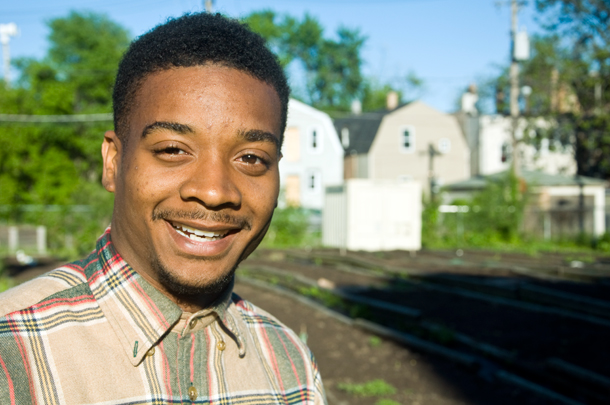 Darius Jones, at the garden plot he shares on the 200 block of N. Kenneth Ave. (WBEZ/Chris Bentley)