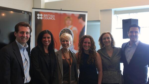 Pictured, from left to far right: Shakespeare Theatre Executive Director Criss Henderson, Gill, Bissett, Durchslag, Zeitlin and Coorlim. (Courtesy of British Council)