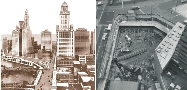 Site of the Seventeenth Church of Christ, Scientist before construction in the mid-1950s. (Photos courtesy Seventeenth Church of Christ, Scientist and Chuckman's Chicago Nostalgia)