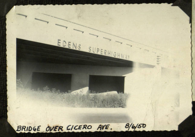 The Edens Expressway opened in 1951. It took much of the car traffic from U.S. 41, leaving the motels hanging. Click on the image to flip through a scrapbook of the Interstate's opening. (Source: Illinois Digital Archives)
