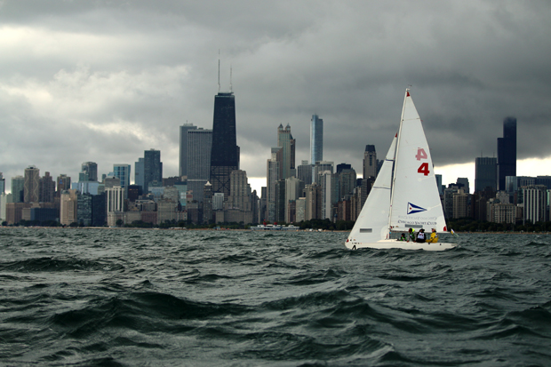 Chicago is the backdrop for this year's Blind Sailing World Championships. The competition pairs blind and sighted sailors  to navigate a series of race courses. (WBEZ/Sean Kennedy)