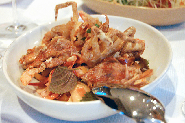 Soft-shell crab, banana blossom, lemongrass, Thai chili (WBEZ/Louisa Chu)