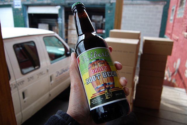 Glass bottle of Filbert's Old Time Draft Root Beer (WBEZ/Louisa Chu)