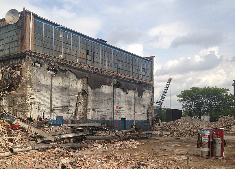 The remnants of the old Finkl steel plant that's currently being demolished. The company moved from the Northside to the South Side. (WBEZ/Lauren Chooljian)
