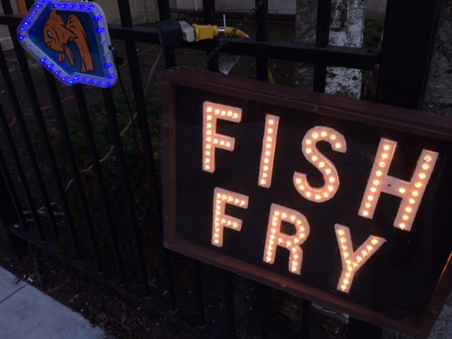 Signs point the way to St. Ferdinand's fish fry. (WBEZ/Lynette Kalsnes)