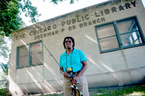 Nine of the 79 Chicago Public Library branches offer fishing poles for check-out. (WBEZ/Bill Healy)