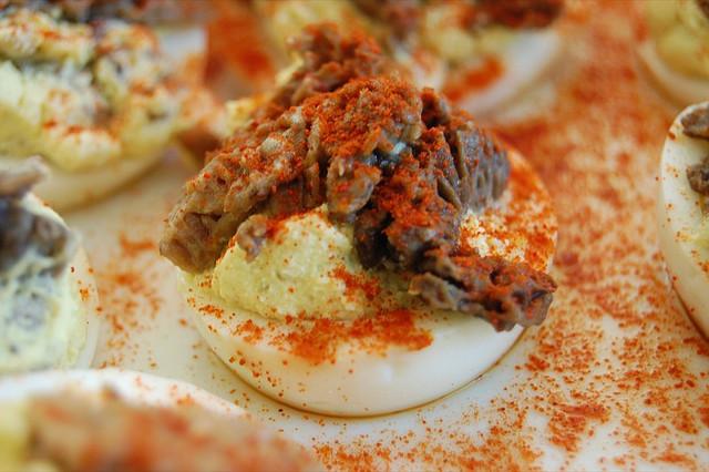 Mushroom deviled eggs, post Illinois Mycological Association foray (WBEZ/Louisa Chu)