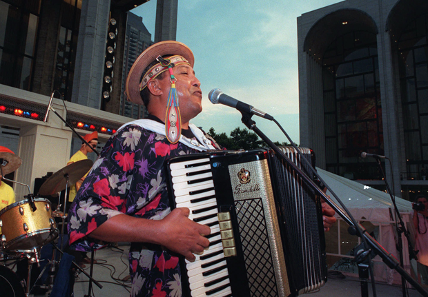 Joquinha Gonzaga plays accordion at New York's Lincoln Center during a 1999 tribute to his uncle, Brazilian folk musician Luiz Gonzaga. Luiz Gonzaga, known as the king of Baiao, was the first figure to popularize the Northeastern Brazilian folk music called forro, a fast and lively music driven by accordion, a bass drum and a triangle. (AP/Wanderlan P. Silva)