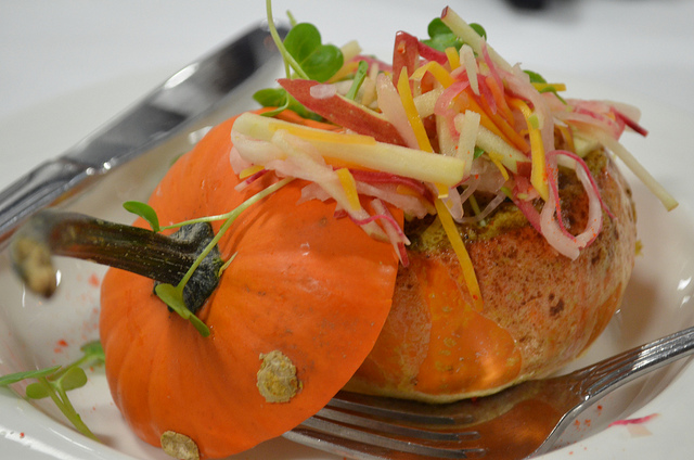Lobster, cheese, and slaw stuffed pumpkin by chef Dan Fox of the Madison Club in Madison, Wis. (WBEZ/Louisa Chu)