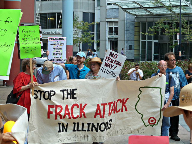 File: Activists rally against fracking outside the Thompson Center in July 2012. (Flickr/silverfuture)