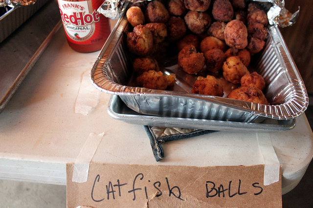 Catfish balls at the 2013 Harvard Sportsman's Club Wild Game Dinner in Harvard, Illinois (WBEZ/Louisa Chu)