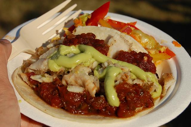 Grilled walleye taco with tomato jalapeño chutney by Dirk's Fish at Green City Market BBQ 2012 (WBEZ/Louisa Chu)