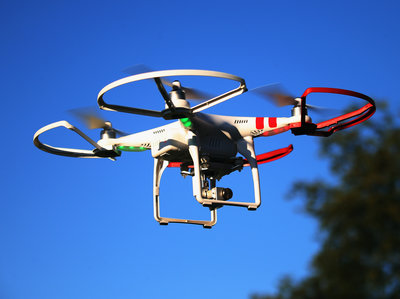 A drone flies above Old Bethpage, N.Y. (Bruce Bennett/Getty Images)