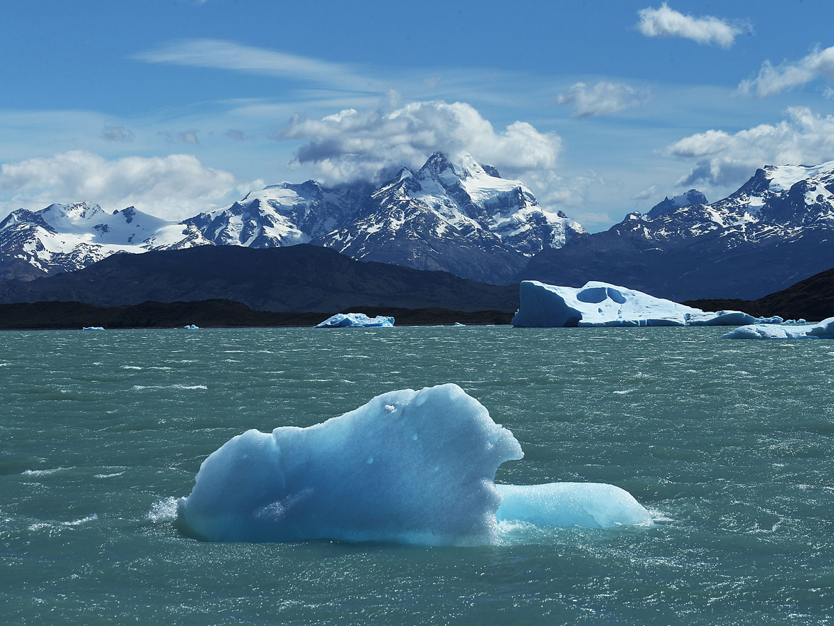 A piece of ice floats in Los Glaciares National Park in Santa Cruz Province, Argentina. (Mario Tama/Getty Images)