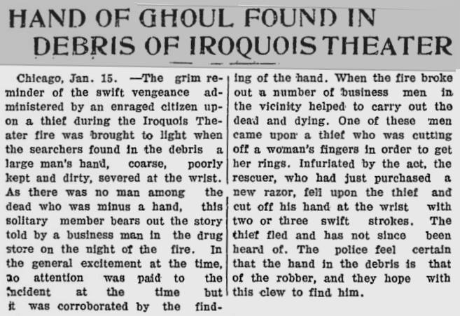 A newspaper clipping describes one event involving grave robbers after the fire. The newspaper refers to them as ghouls. (Image courtesy Judy Cooke)