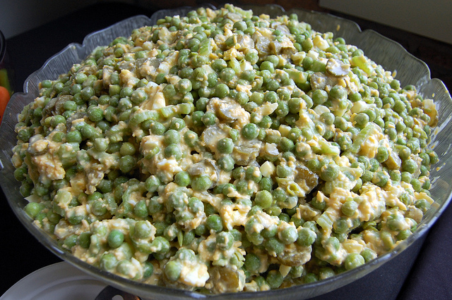 Iowa pea salad; recipe by White Way Cafe in Durant, Iowa from Square Meals Cookbook (WBEZ/Louisa Chu)