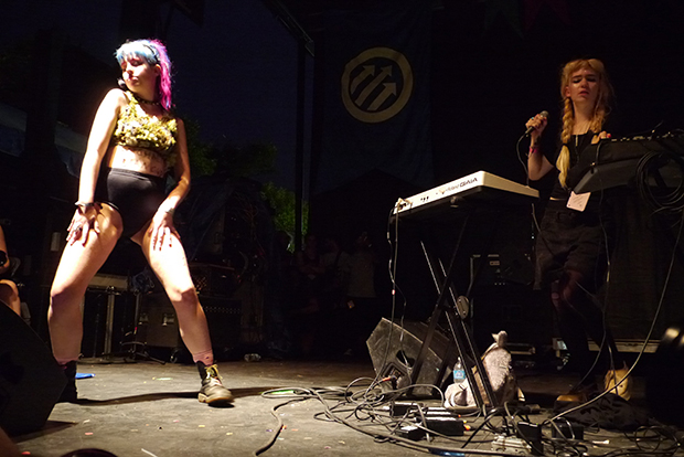 Grimes with dancer (WBEZ/Andrew Gill)