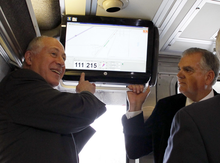 Illinois Gov. Pat Quinn, left, and Transportation Secretary Ray LaHood, on a high speed rail test run in October of 2012. (AP/Charles Rex Arbogast, file)