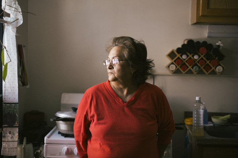 Nivea Sandoval is a 30-year resident of the Lathrop Homes. She feels Chicago Housing Authority is neglecting residents, but still wants to live here because of the strong community. (Peter Hoffman for NPR)