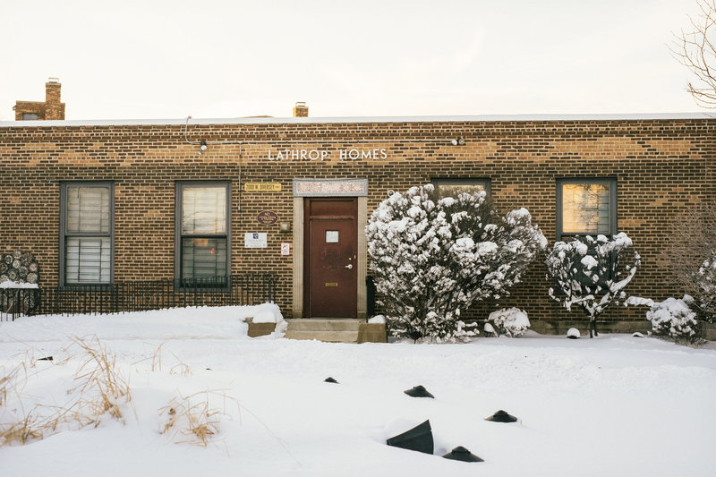 The main office for the Lathrop Homes public housing complex in Chicago. One resident says the redevelopment plan for the complex is just more gentrification in the city. (Peter Hoffman for NPR)